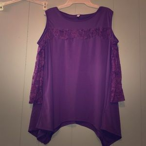 Purple lace sleeved cold shoulder sexy blouse